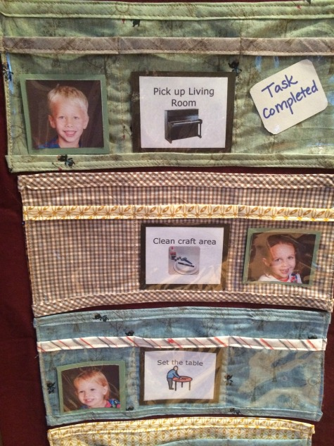 """Kate made kid-friendly cards. When enough tasks move to the completed column, that child gets to """"shop"""" for something in the family store."""