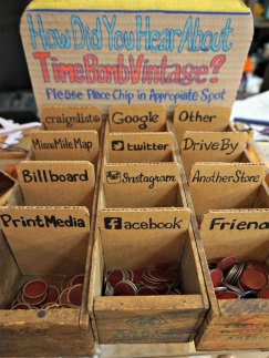 Time Bomb Vintage has a welcoming neighborhood feel. I was charmed by this interactive display by the register.